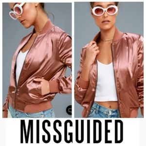 ❌SOLD SUPER CHIC Rusty Rose Satin Jacket